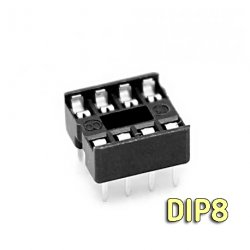 панелька dip8 с плоскими контактами шаг 2.54 мм узкая