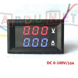 Вольтметр Амперметр цифровой 100В 10A врезной с корпусом индикатор