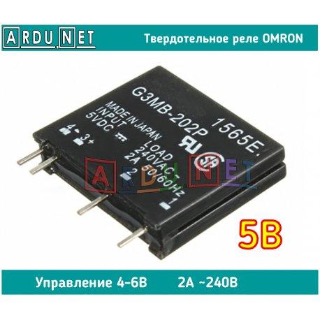 Твердотельное реле Omron G3MB-202P управление 4-6В коммутация 240В 2А 50Гц 450Вт SSR RELAY