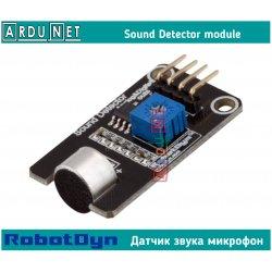 Датчик звука микрофон модуль sound sensor аналог+цифра RobotDyn