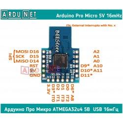 ARDUINO 32u4 Mini Micro atmega32u4 USB аппаратний 5V 16M ардуино про мікро 5в 16мгц усб юсб leonardo