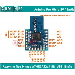 ARDUINO 32u4 Mini Micro разъем atmega32u4 USB аппаратный 5V 16M ардуино про микро 5в 16мгц усб юсб leonardo