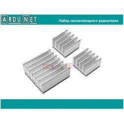 Набор самоклеящихся радиаторов алюминий теплоотвод 14x14x6 8x8x4 Raspberry Pi