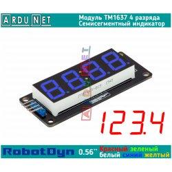 """модуль 0.56""""  индикатор СИНИЙ ДЕСЯТИЧНАЯ ТОЧКА СИНИЙ LED светодиодный семисегментный 4 разряда экран TM1637 RobotDyn"""