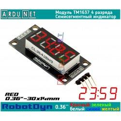 """модуль 0.36""""  индикатор КРАСНЫЙ RED LED светодиодный семисегментный 4 разряда экран TM1637 RobotDyn"""