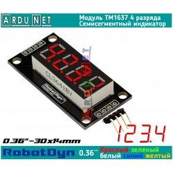"""модуль 0.36"""" индикатор КРАСНЫЙ ДЕСЯТКОВА  КРАПКА светодиодный семисегментный 4 разряда экран TM1637 RobotDyn"""