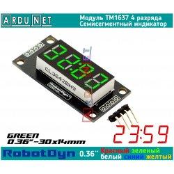 """модуль 0.36""""  индикатор ЗЕЛЕНЫЙ GREEN LED светодиодный семисегментный 4 разряда экран TM1637 RobotDyn"""