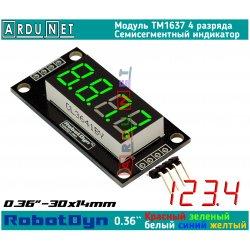 """модуль 0.36""""  индикатор ЗЕЛЁНЫЙ ДЕСЯТИЧНАЯ ТОЧКА GREEN LED светодиодный семисегментный 4 разряда экран TM1637 RobotDyn"""