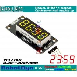 """модуль 0.36"""" индикатор ЖОВТИЙ светодиодный семисегментный 4 разряда экран TM1637 RobotDyn"""