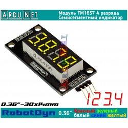 """модуль 0.36""""  индикатор ЖЕЛТЫЙ ДЕСЯТИЧНАЯ ТОЧКА YELLOW LED светодиодный семисегментный 4 разряда экран TM1637 RobotDyn"""