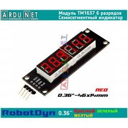 """модуль 0.36"""" індикатор Червоний  світлодіодний семисегментний 6 разряди дисплей TM1637 RobotDyn"""