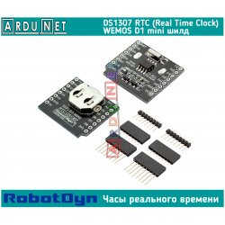 Модуль часы реального времени DS1307 i2c для WeMos D1 mini RTC Real Time Clock battery Shield  pin headers RobotDyn