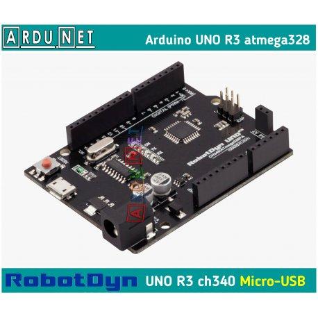 Arduino UNO R3 2016 Atmega328 ATmega328P smd  кабель micro USB Ардуино Уно Р3  RobotDyn A6-A7