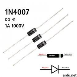 Диод выпрямительный 1n4007 1A 1000В DO-41