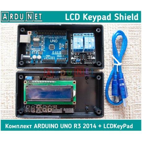 КОМПЛЕКТ Arduino Uno R3 2014 + LCD Keypad Shield 1602 LCD 16 симв 2стр