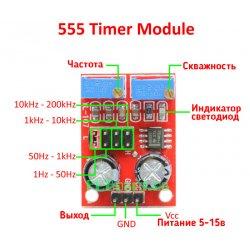 Регулируемый генератор прямоугольных импульсов Ne555 модуль 1Гц-200кГц