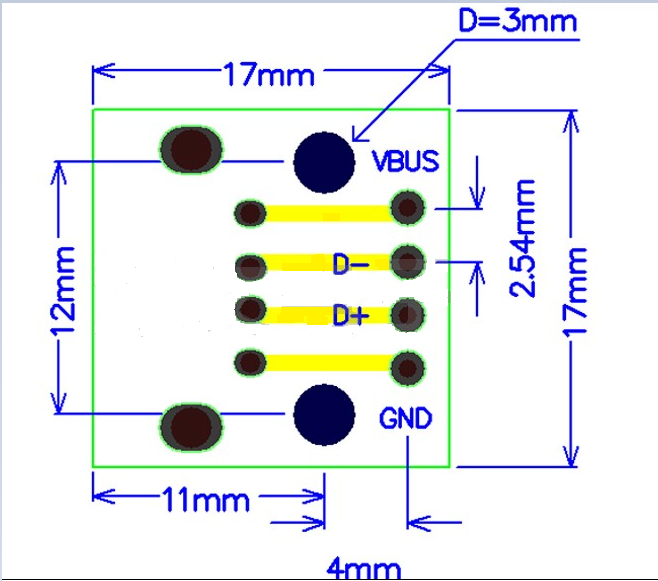 Type A Female USB to 2.54mm DIP Adapter